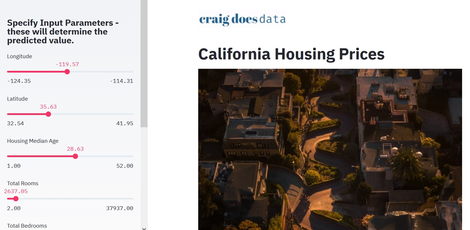 A screenshot of the California Housing Prices Web Application
